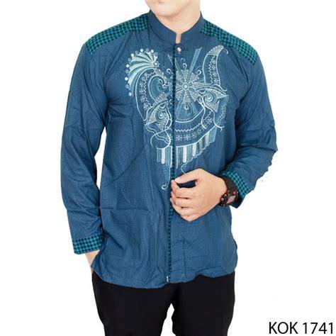 Setelan Koko Biru baju koko pria lengan panjang katun biru kok 1741