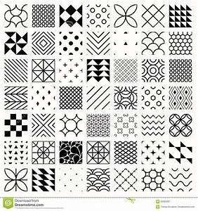 Set Of Geometric Seamless Patterns, Triangles, Lines ...