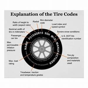 Automobile Tire Identification Diagram Poster