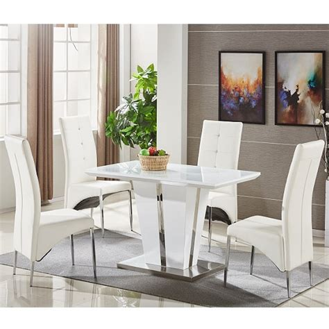 Memphis Glass Dining Table Small In White With 4 Dining