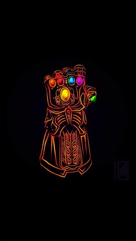 [1080x1920] Neon Infinity Gauntlet I Redd It Submitted