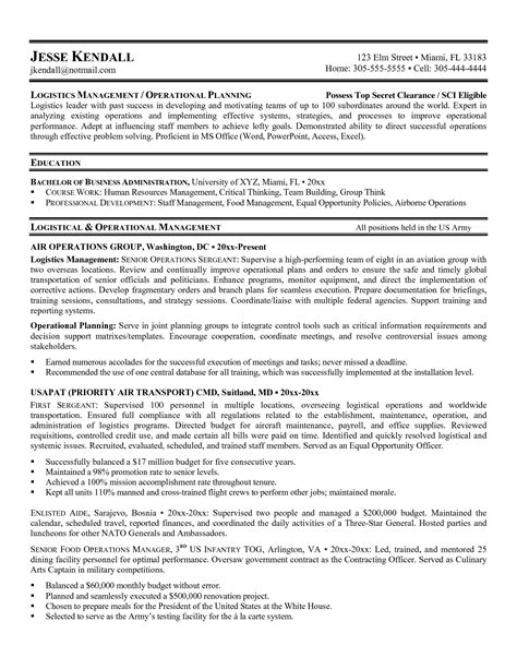 Logistics Manager Resume Format by Logistics Resume Sles Transportation Resume Template Resume Template Sle