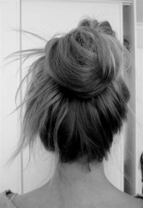messy bun top knot   hair