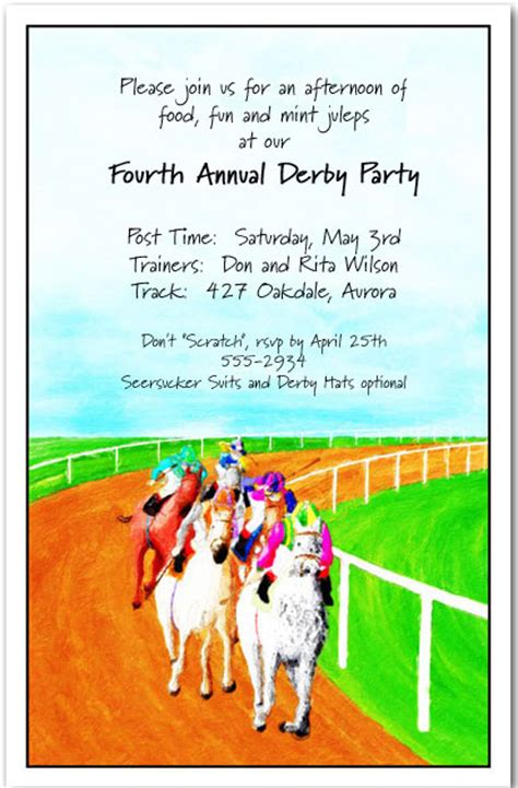 race   horse racing invitations kentucky derby party