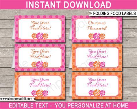 Food Label Template For by Hawaiian Luau Food Labels Place Cards Hawaiian