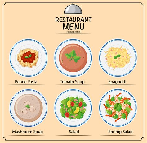 different types of dishes on menu vector download free
