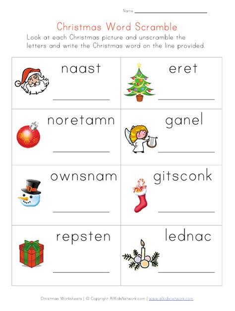 christmas word scramble worksheet for kids