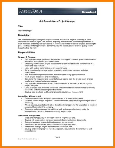 Construction Manager Description For Resume by 8 Construction Project Manager Description Introduction Letter