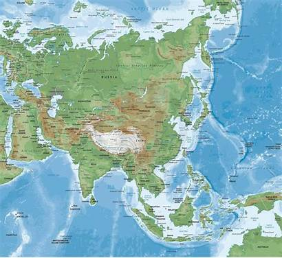 Asia Map Maps Physical Continent Countries India
