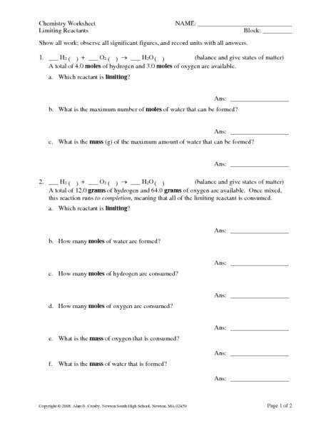 Stoichiometry Limiting Reagent Worksheet Homeschooldressagecom