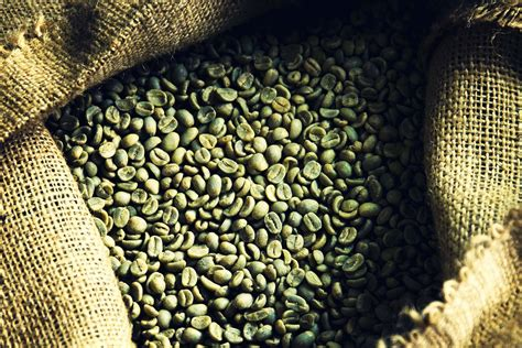 Open bag of green coffee beans.   Coffees
