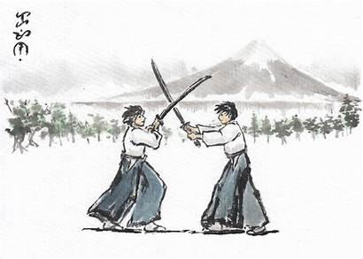 Sword Fighting Japanese Drawing Discipline Swords Japan