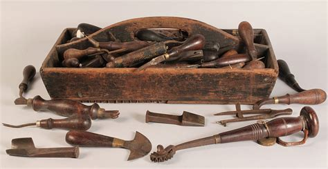 lot    wooden tool caddy  early tools