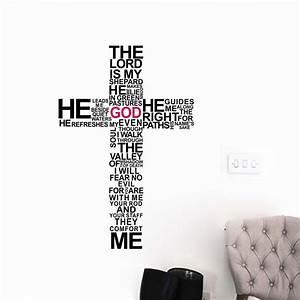 Cartoon TYPOGRAPHY CHRISTIAN God CROSS WALL ART STICKER