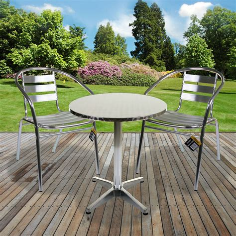 Garden Patio Table by Aluminium Lightweight Chrome Bistro Sets Table Chair Patio
