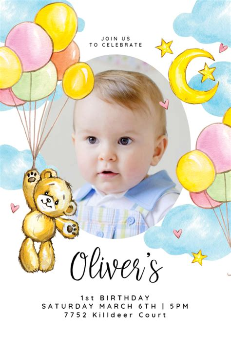 teddy bear balloons birthday invitation template