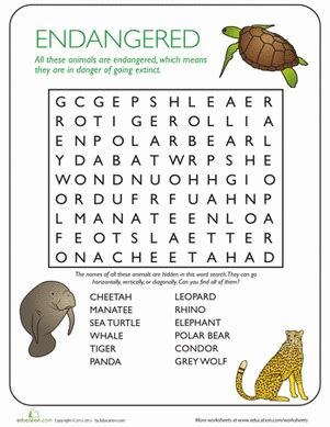 animal word search endangered species worksheet
