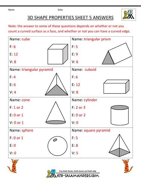 3d Shapes Worksheets