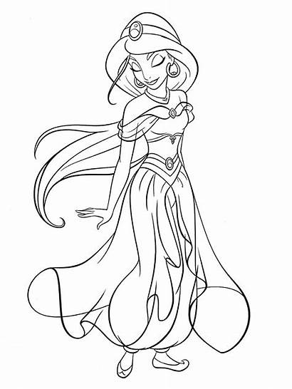 Coloring Princess Pages Jasmine Disney 1000 Characters