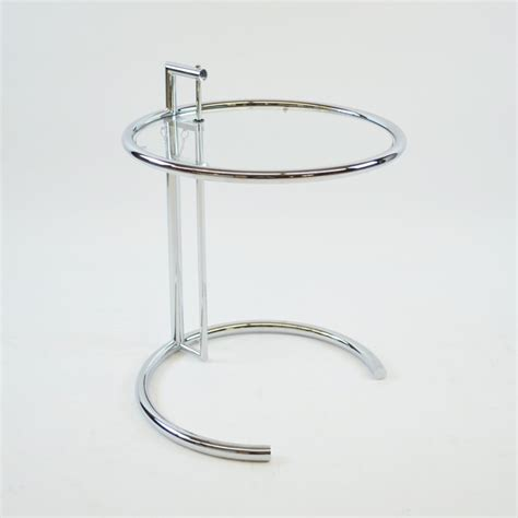 adjustable height round coffee table eileen gray adjustable height chrome side table glass top