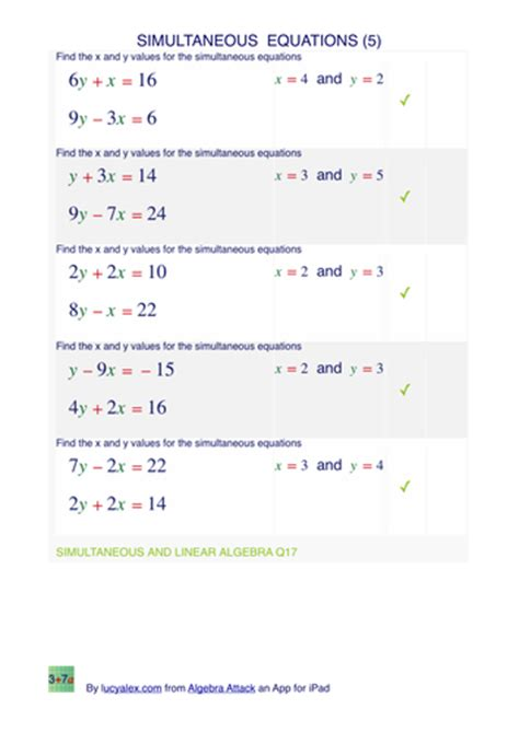 simultaneous equations 8 exles 20 worksheets by lucy