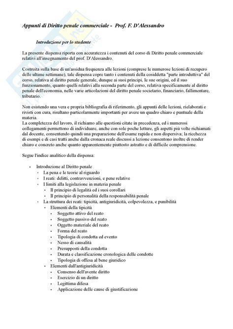 Dispensa Diritto Penale by Lezioni Corso Appunti Di Diritto Penale Commerciale