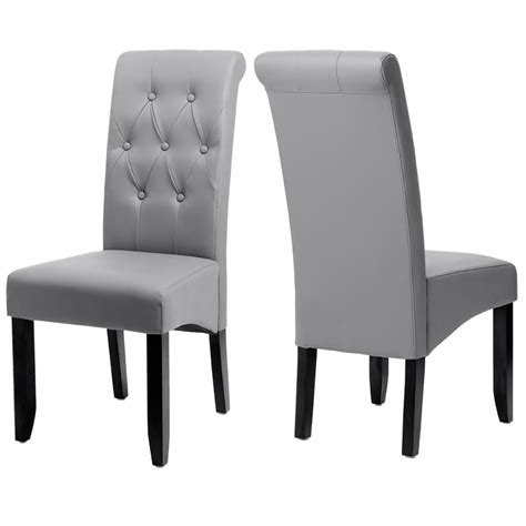 chaises confortables salle manger 2 chaises laredo gris pvc haute qualite chaise topkoo