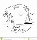 Paradise Outline Coloring Island Travel Template Viaggio Ed Sketch Landscape Vacation Vacanza Lineare Spiaggia Paradiso Descrivono Paesaggio Isola Acqua Turismo sketch template