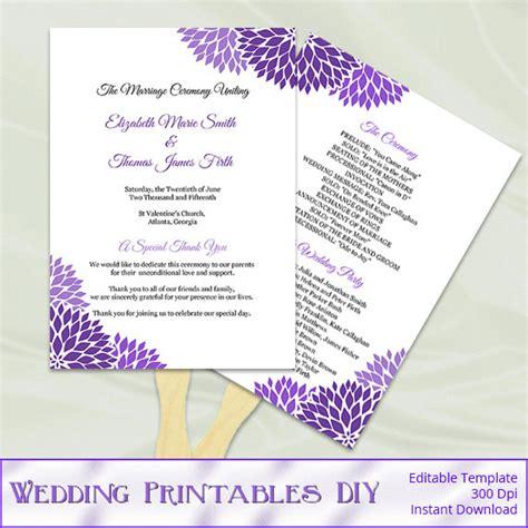 diy wedding program fans template wedding program fan template diy purple by