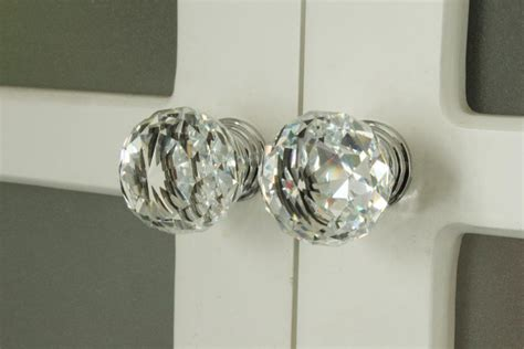 K9 Clear Crystal Knob Chrome Glitter Knob Kitchen Cabinet
