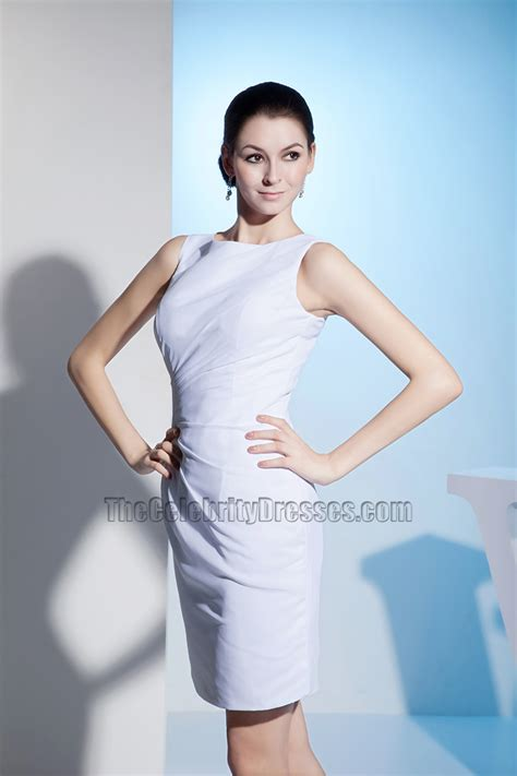 Sheath Column White Sleeveless Cocktail Party Dresses