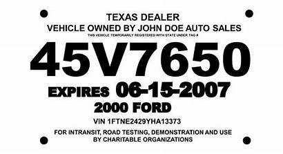 Temporary Printable Tags Texas License Plate Tag