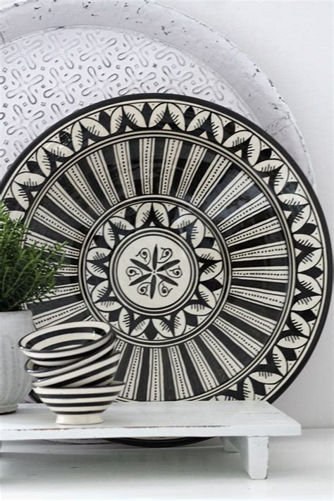 moroccan ceramic plate flower black  cm house  ideas