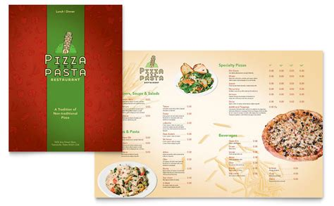 Menu Brochure Template Word by Italian Pasta Restaurant Menu Template Word Publisher