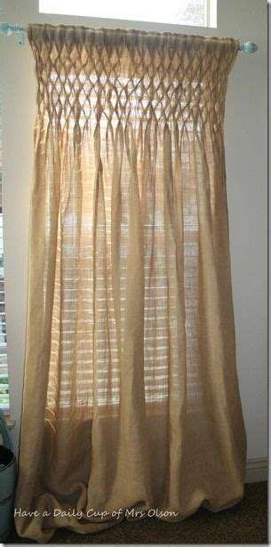 smocked burlap jute curtain panel