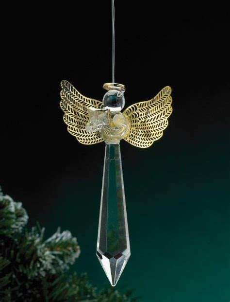 angel with book glass prism christmas tree ornaments set of 6
