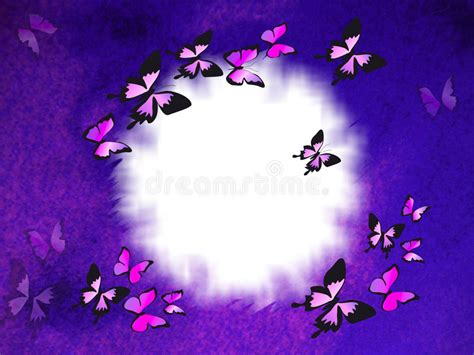 violet border  butterflies stock illustration