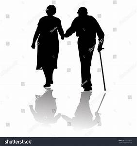 Silhouette Old Couple Keeping Hands Stock Vector 151119191 ...