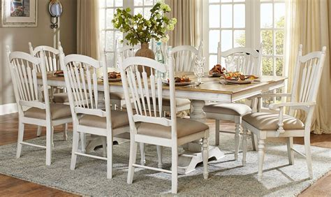 white wood dining hollyhock distressed white dining room set from