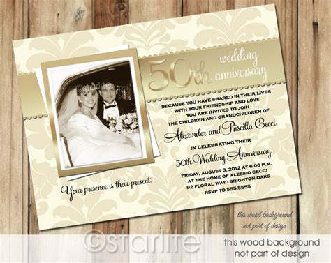 Golden 50 Anniversary Photo Invitation 50th Wedding By