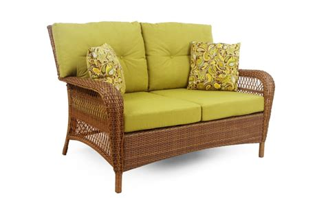 msl charlottetown patio loveseat in brown with green