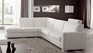 Canape Cuir Blanc Angle : canap angle en simili cuir vachette blanc ~ Teatrodelosmanantiales.com Idées de Décoration