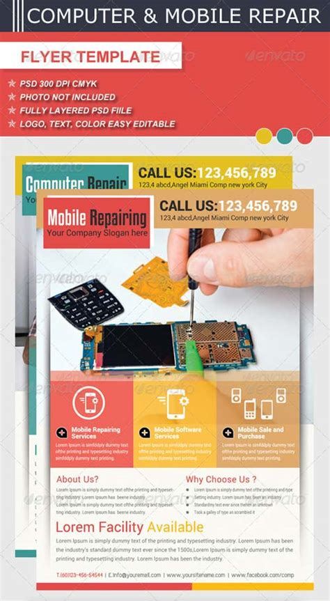 Computer Science Flyer Editible Template by Graphicriver Computer Mobile Repair Flyer Template