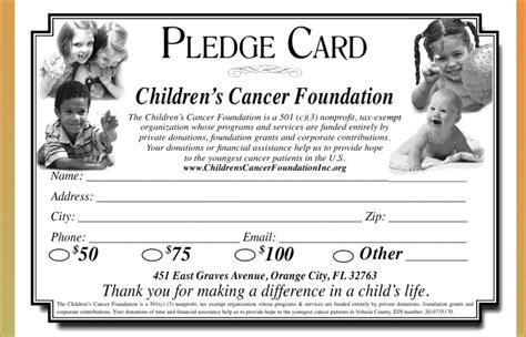 childhood cancer foundation  pledge card