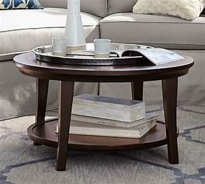 metropolitan round coffee table pottery barn With barn style coffee table