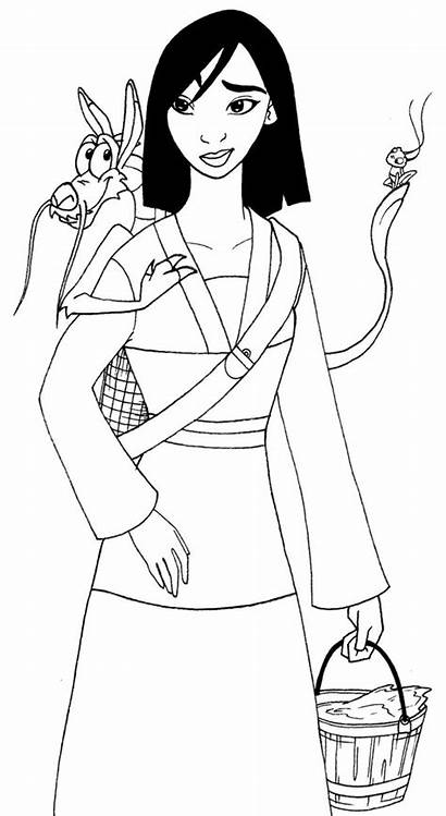 Mulan Coloring Pages Disney Mushu Princess Printable
