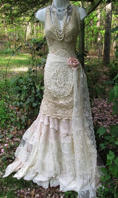 Vintage Opulence by Vintage Lace Mermaid Boho Wedding Dress Ecru Tulle