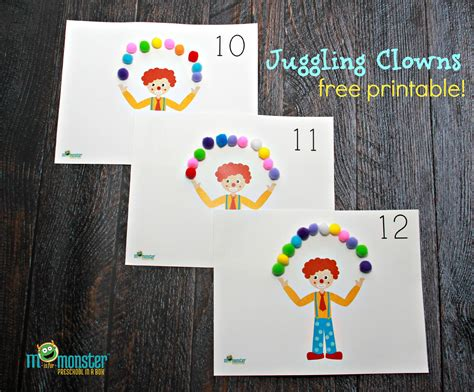 clown activities for preschoolers juggling clown counting activity free 373