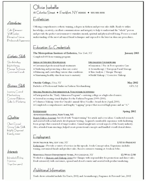 Esthetician Resume Templates by Cosmetologist Resume Objective For Hilary Esthetician