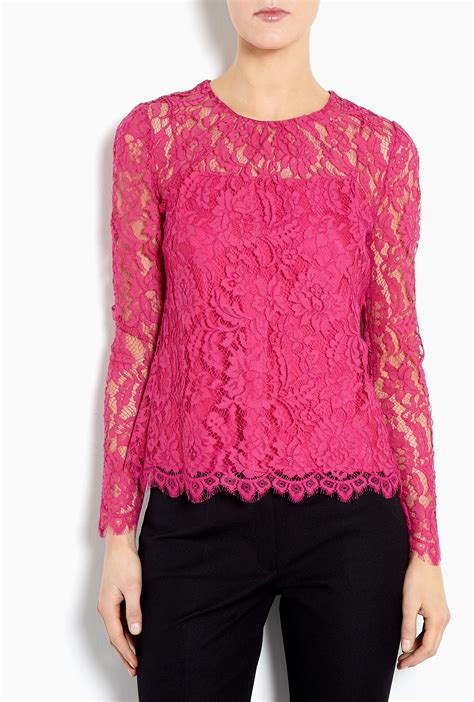 fuschia blouse milly lace blouse in pink fuschia lyst